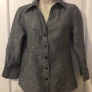 CAROLE LITTLE Charcoal Linen Career Blouse sz SM